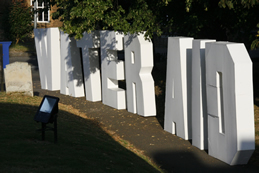 Fluted polypropylene 7 foot high Hollywood font letters for Sandy youth club at carnival time! I displayed them in the church graveyard!